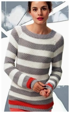 FASHIONABLE STRIPED PULLOVER  STYLISH