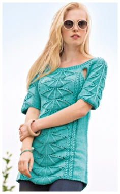 SHORT SLEEVE SWEATER WITH FAN PATTERN