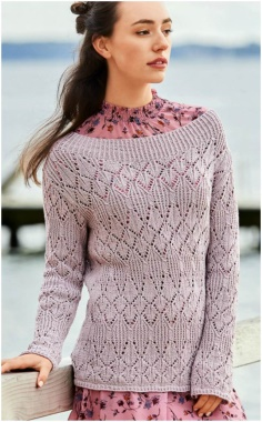 LILAC SWEATER WITH LACE STRIPES
