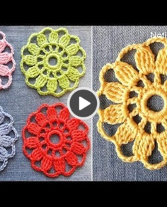 How to crochet EASY for beginners Motif Flower