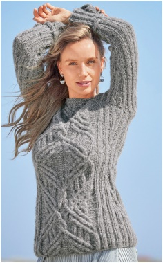 GRAY SWEATER WITH EMBOSSED PATTERNS