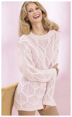 PINK SWEATER WITH LACE DIAMONDS