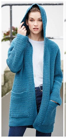 A LOOSE BLUE CARDIGAN WITH A HOOD