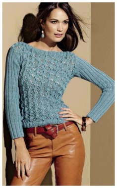 BLUE KNIT JUMPER WITH BOAT NECK