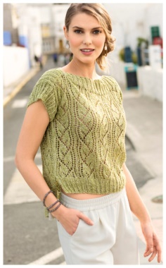 SWEATER WITH AN EXTENDED BACK AND AN OPENWORK PATTERN