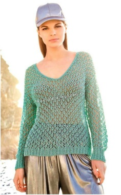 WOMENS PULLOVER WITH AN OPENWORK KNITTING PATTERN
