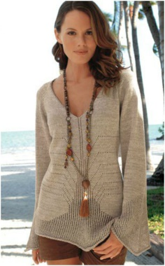 PULLOVER WITH INTERESTING KNITTING PATTERN SWEATER