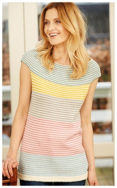 STRIPED TOP WITH A ROUND YOKE   GENTLE  CONCISE