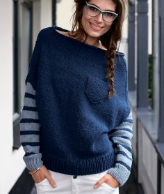 STRIPED SLEEVE SWEATER WITH CHEST POCKET