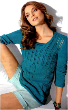 KNITTED TURQUOISE PATTERN SWEATER