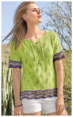 OPENWORK PULLOVER WITH LACING