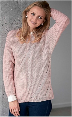 PINK SWEATER WITH DIAGONAL STRIPES