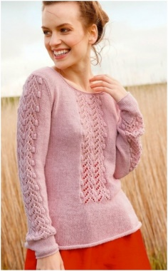 DELICATE PINK SWEATER WITH A BEAUTIFUL KNITTING PATTERN