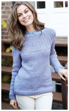 SWEATER WITH EMBOSSED TRACKS ON THE YOKE