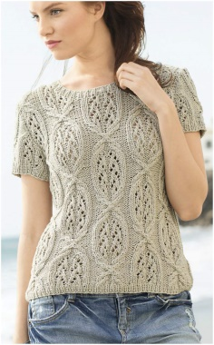 KNITTED NEEDLES WITH PATTERNED SHORT SLEEVES