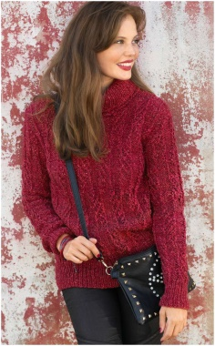 RED SWEATER WITH EMBOSSED PATTERN KNITTING