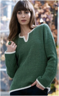 SLIT GREEN PULLOVER SWEATER